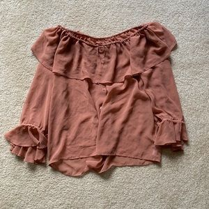 Forever 21 flowy ruffled off the shoulder top